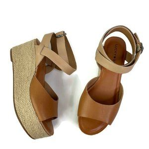 Lucky Brand Espadrilles Sandals Brown High Wedge